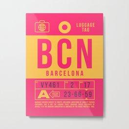 Baggage Tag B - BCN Barcelona Spain Metal Print