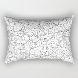 Black and White Ink Pen Lines Bubbles Pattern Rectangular Pillow