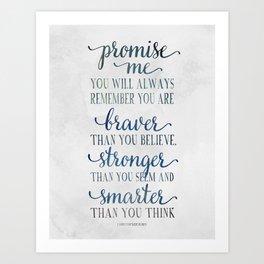 Braver - Christopher Robin Typography Quote.  Art Print