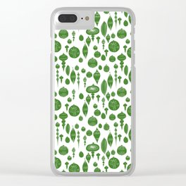 Vintage Christmas Ornaments in Green on White Clear iPhone Case