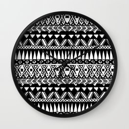 Black and White Hand Drawn Modern Tribal Aztec Wall Clock
