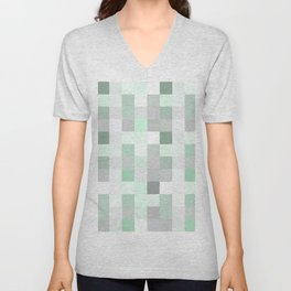 Modern Green and Gray Squares Checkered Pattern Unisex V-Neck