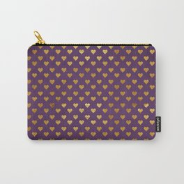 Purple Golden Hearts Carry-All Pouch