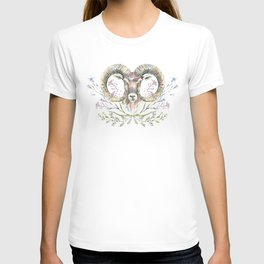 Ram's watercolor portrait with wildflowers ornament. T-shirt