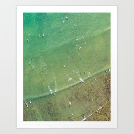 Drone Shot of Surfers from above Art Print