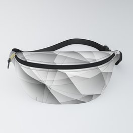 Exclusive symmetrical diagonal pattern of chaotic black and white fragments of glass, glare. Fanny Pack
