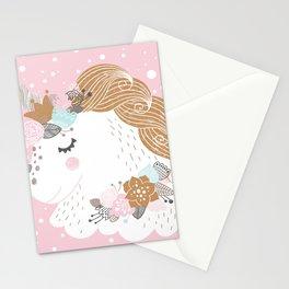 I Love Unicorns ink Unicorn Head Baby's Nursery nd Girls Room Decor Stationery Cards