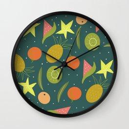 Summer Gardening Fruits Loquats Bananas Starfish Kiwi Wall Clock