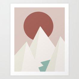 Geometric mountain red sun Art Print