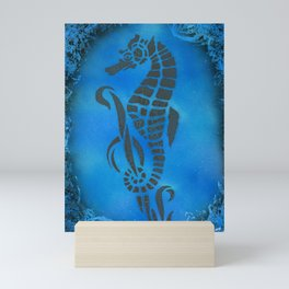 Blue Seahorse Mini Art Print