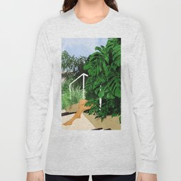 Hiding in Green #painting #illustration Long Sleeve T-shirt