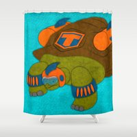 tortoise Shower Curtains featuring Tortoise by subpatch