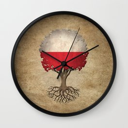 Vintage Tree of Life with Flag of Poland Wall Clock