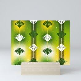 Green Leaves Geometric  Mini Art Print
