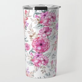 Modern Bohemian pink coral lavender watercolor flowers Travel Mug