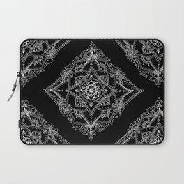 Mandala Doodle Pattern in Black & White Laptop Sleeve
