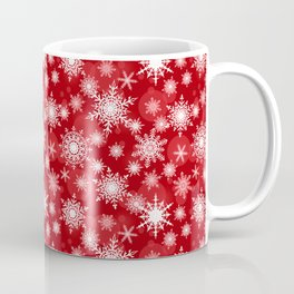 Christmas pattern. Lacy snowflakes on a red background. Coffee Mug