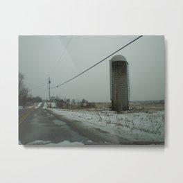 Vermont Winter Silo Metal Print