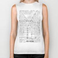 las vegas Biker Tanks featuring Las Vegas Map Gray by City Art Posters