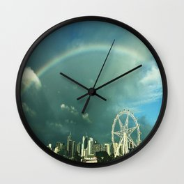 Rainbow over Melbourne Wall Clock