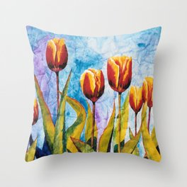 Watercolor Tulips on Wrinkled Paper Throw Pillow