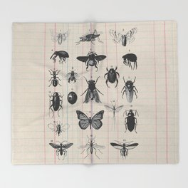 Vintage Insect Study on antique 1800's Ledger paper print Throw Blanket