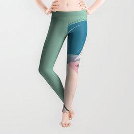 Teal Haired Girl Wearing a Kiwi Print Sweatshirt Leggings