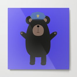 Happy Grizzly Police Metal Print