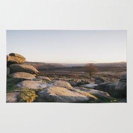 Owler Tor rock formations at sunset. Derbyshire, UK. Rug