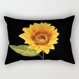 one big yellow Sunflower Blossom - black background Rectangular Pillow
