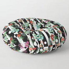 Cactus Flowers and Lines Floor Pillow