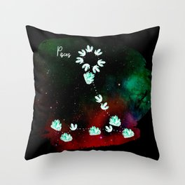 Pisces Constellation in Aquamarine - Star Signs and Birth Stones Throw Pillow