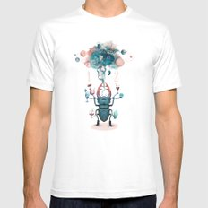 funny beetle MEDIUM White Mens Fitted Tee