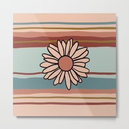 90s Stripe with Daisy in Vintage Fall Colors Metal Print