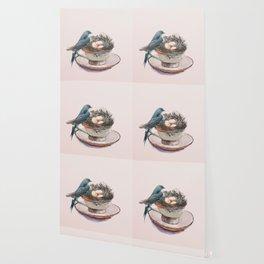 Bird nest in a teacup Wallpaper