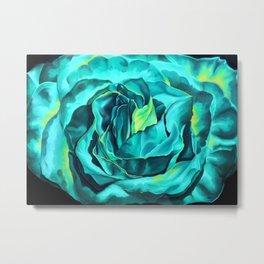 Turquoise Rose, green roses, flower art, dia de los muertos Metal Print