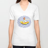 submarine V-neck T-shirts featuring Yellow Submarine by Anaïs Rivola