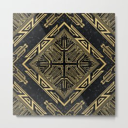 Art Deco Gold and Marble Inlay Metal Print