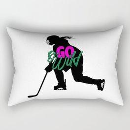 Go Wild Womens Hockey Rectangular Pillow