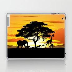 Wild Animals on African Savanna Sunset  Laptop & iPad Skin