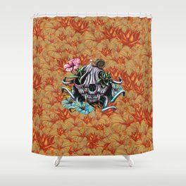 The Skull the Flowers and the Snail CoLoR Shower Curtain