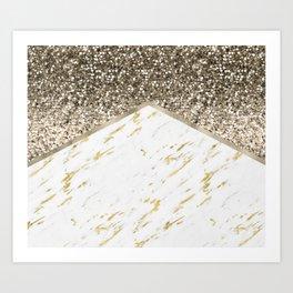 Shimmering mixed golds chevron Art Print