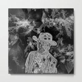 Black and White Zombie Cowboy Metal Print