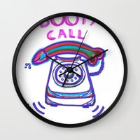 booty Wall Clocks featuring ((( BOOTY CALL ))) by FABIO MIGGIANO_H13