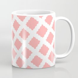 Coral Pink & White Diagonal Grid Pattern - Black & Pink - Mix & Match with Simplicity of Life Coffee Mug