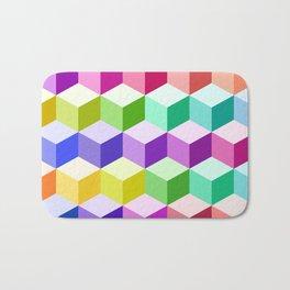 Cube Pattern Multicolored Bath Mat