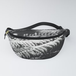 Minimal Winter Ferns II Black and White - Forest Nature Photography Fanny Pack