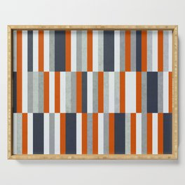 Orange, Navy Blue, Gray / Grey Stripes, Abstract Nautical Maritime Design by Serving Tray