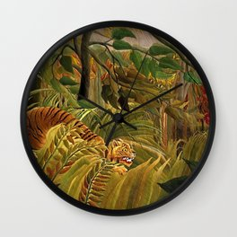 Tiger in a Tropical Storm - Surprised! by Henri Rousseau Wall Clock