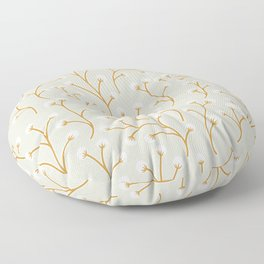 Berry Buds | Yellow and Grey Floor Pillow